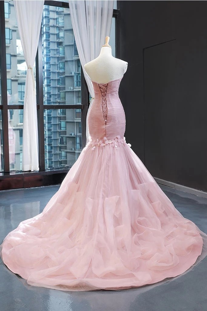 High Quality Pink Mermaid Tulle Wedding Party Dress, Pink Evening Dress