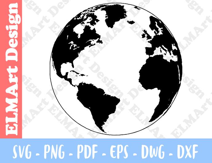Watercolor Globe Earth Art Poster Clipart 6 Format Files Vector Art Svg Png Pdf