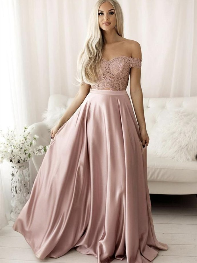 Pink Off Shoulder Lace and Satin Fashion Prom Dress, Two Piece Formal Dress