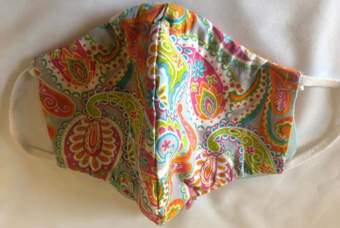 Face Mask, Paisley, Orange Dots, Two layers, 100% Cotton, adult, kid, toddler