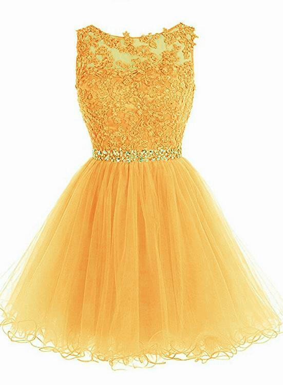 Yellow Tulle Beaded and Lace Round Neckline Party Dress, Short Prom Dress