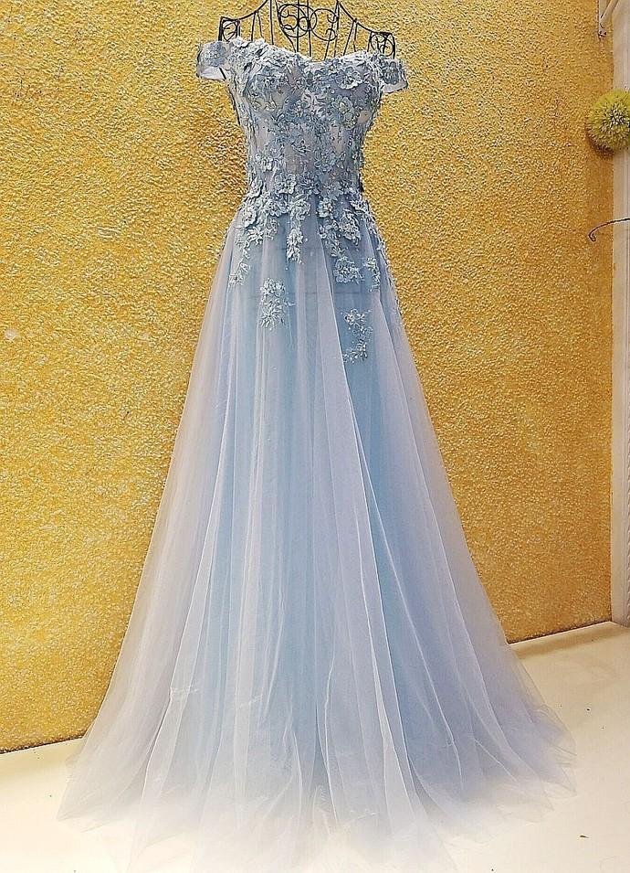 Light Blue A-line Long Party Dress with Lace Applique, Blue Off Shoulder Formal