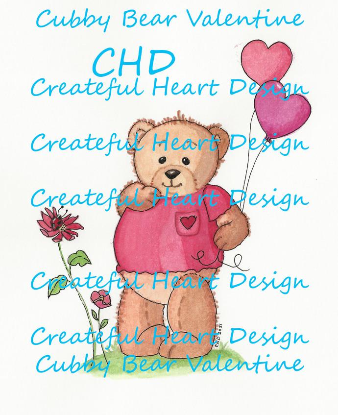 Cubby Bear Valentine - digital image, zipped file