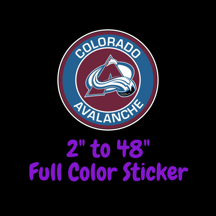 Colorado Avalanche Full Color Vinyl Sticker ; Hydroflask decal ; Laptop Decal ;