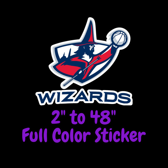 Washington Wizards Full Color Vinyl Sticker ; Hydroflask decal Laptop Decal ;