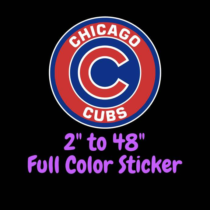 Chicago Cubs Full Color Vinyl Sticker ; Hydroflask decal ; Laptop Decal ; Yeti