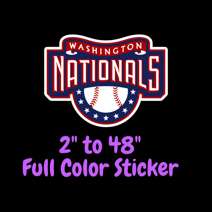 Washington Nationals Full Color Vinyl Sticker ; Hydroflask decal  Laptop Decal