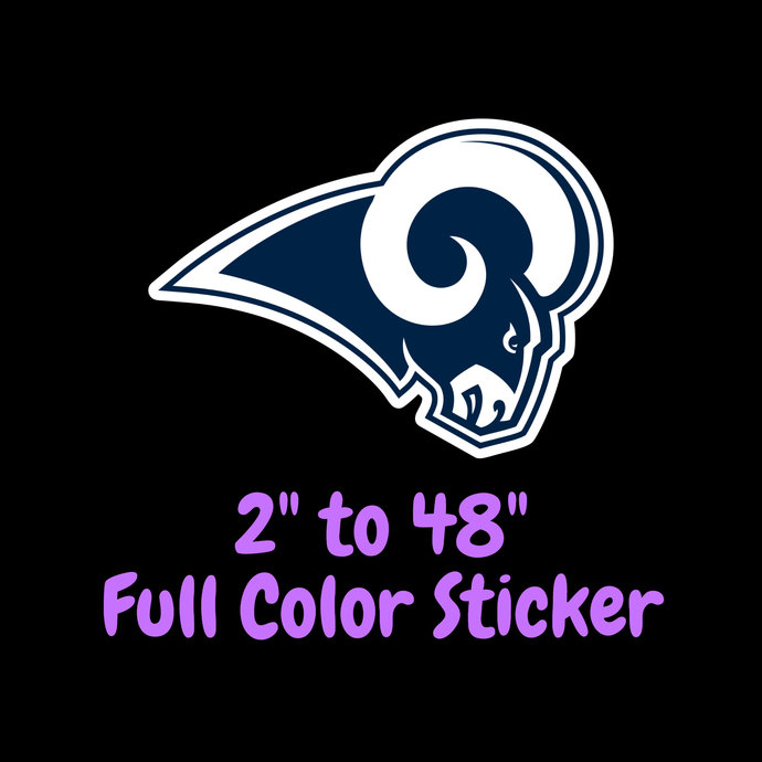 Los Angeles Rams Full Color Vinyl Sticker ; Hydroflask decal ; Laptop Decal ;