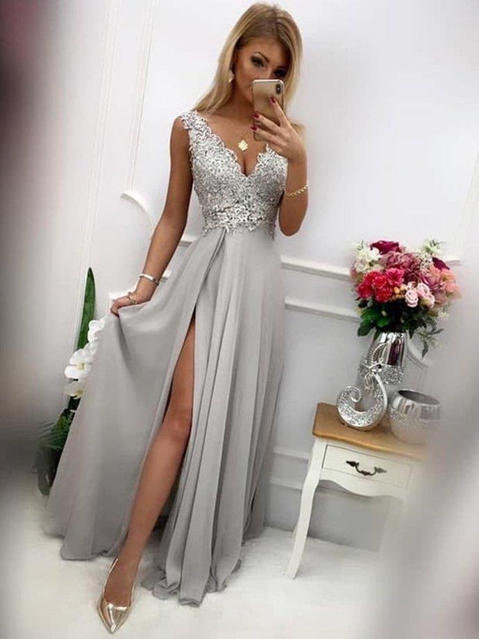 Beautiful V-neckline Grey Slit Chiffon Party Dress with Lace Applique, Long