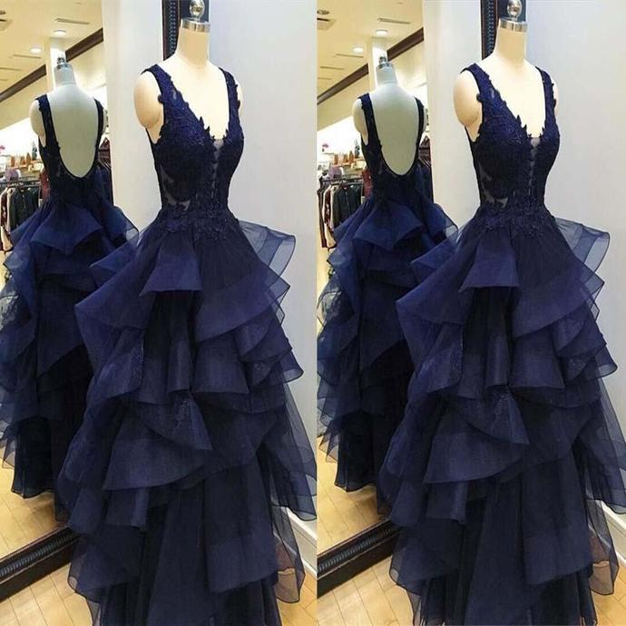 Navy Blue Tulle Layers Backless A-line Floor Length Party Dress, Blue Prom Dress