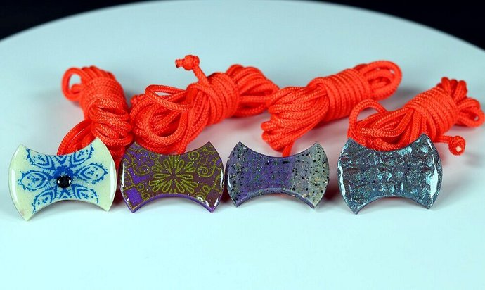 Set of Four Hour-glass Shaped Buttons for Throw-Tops