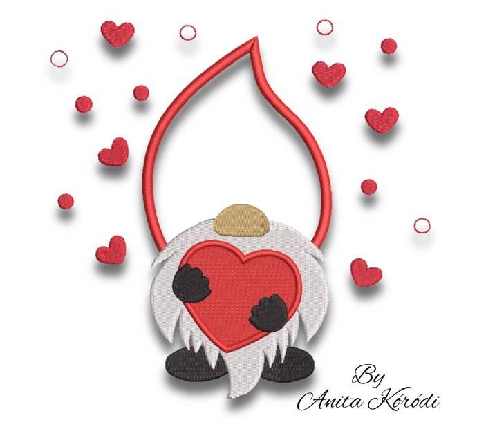 Gnome embroidery design love pes machine pattern Valentine's day