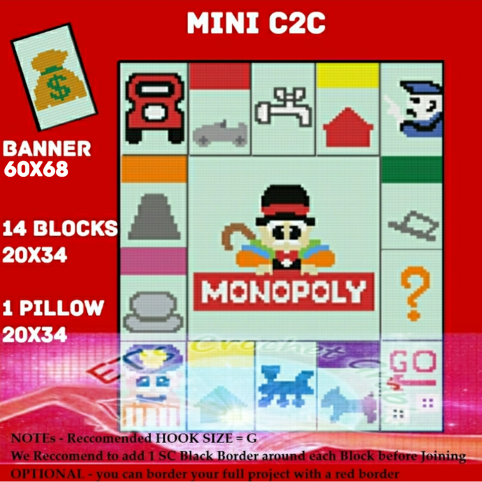 Monopoly Mini C2C Bundle 15 Blocks & 1 Pillow includes graphs with color block