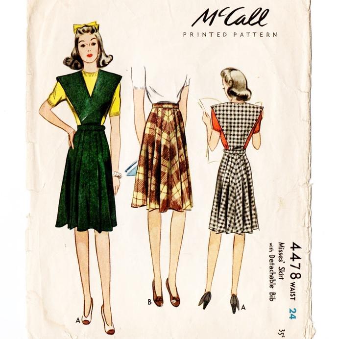 McCall 4478 Misses Skirt, Jumper 40s Vintage Sewing Pattern Waist 24 Pleated