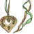 Large Heart Brass Pendant with a Spring Time Story Welcoming Flowers, New Leaves