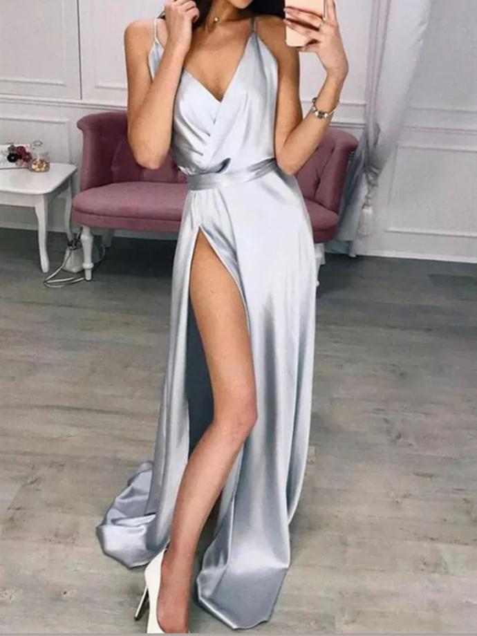 Sexy Grey High Slit Soft Satin Long Party Dress, Grey Prom Dress Formal Dress