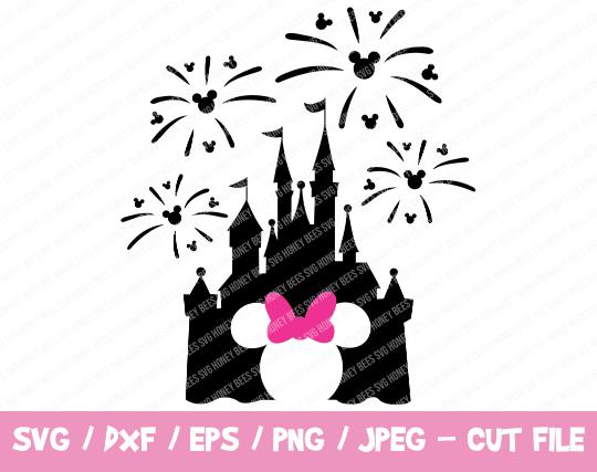 Disney Castle SVG, Disney Castle Fireworks SVG, Disney Castle with Minnie Head,