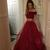 Beautiful Two Piece Burgundy Off Shoulder Party Dress, Wine Red Prom Dress