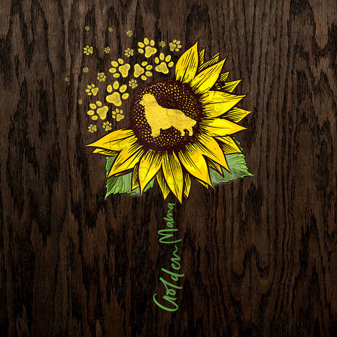 Golden Mama, Sunflower Golden Retriever Mom Dog Lover, Sunflower Paw, Dog Lovers