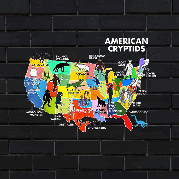 Cryptids Map of the USA PNG Download
