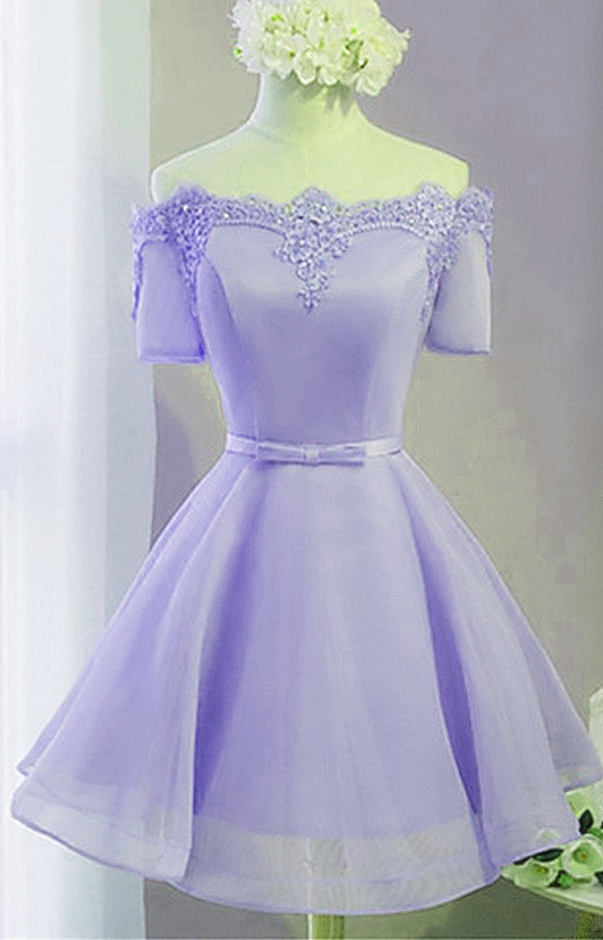 Fashion Light Purple Tulle Short Prom Dress with Lace,  Homecoming Dress Short