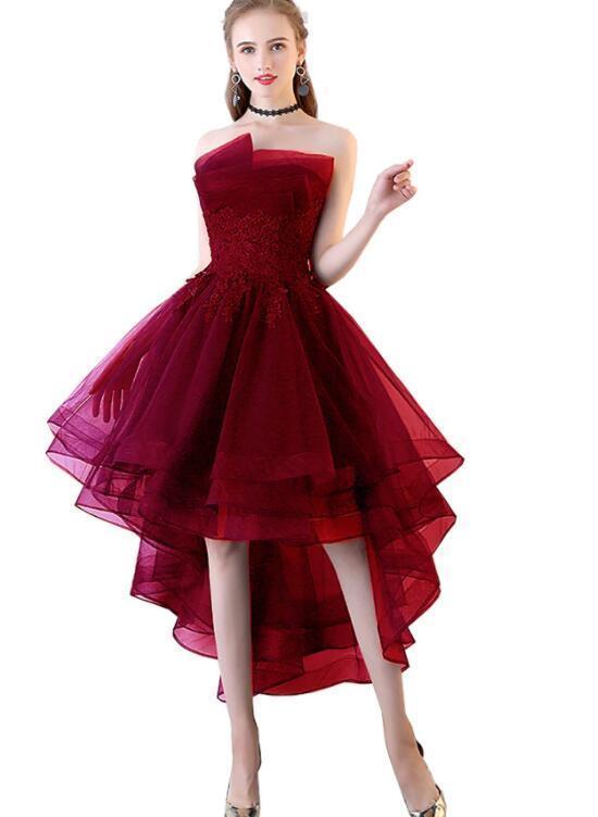 Wine Red Handmade High Low Formal Dress, Short Homecoming Dress