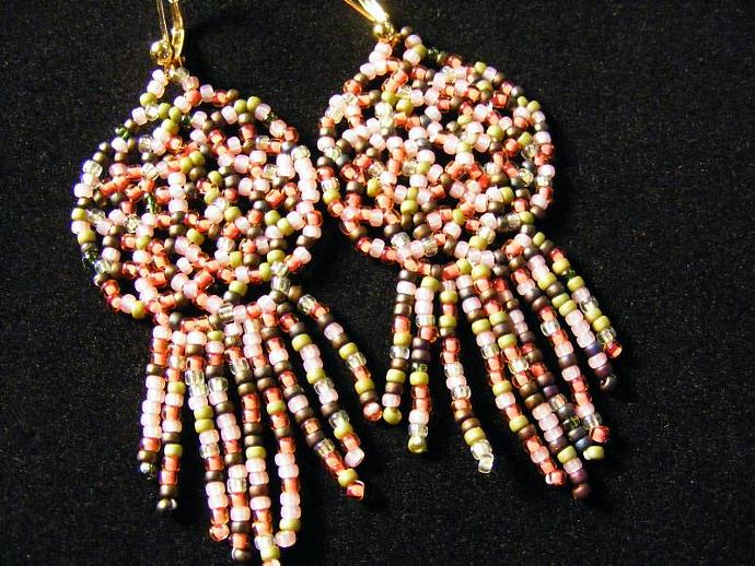English Garden View OOAK Dream Catcher Beaded Earring