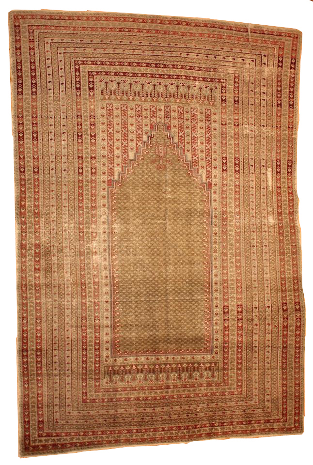 Handmade antique Turkish Ghurdes prayer rug 4.10' x 7.3' ( 152cm x 222cm ) 1870s