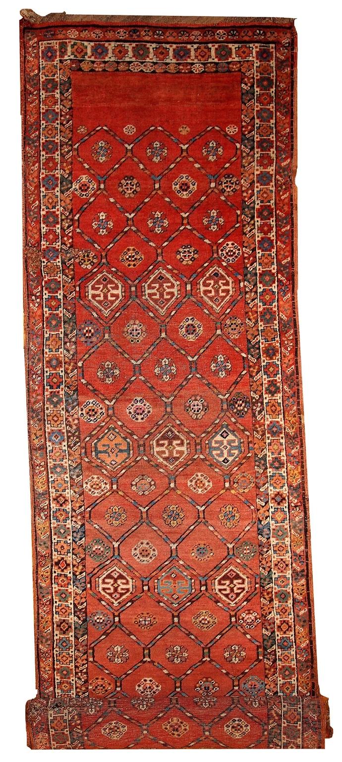 Handmade antique Persian Kurdish runner 3.2' x 12.2' ( 97cm x 371cm ) 1900 -