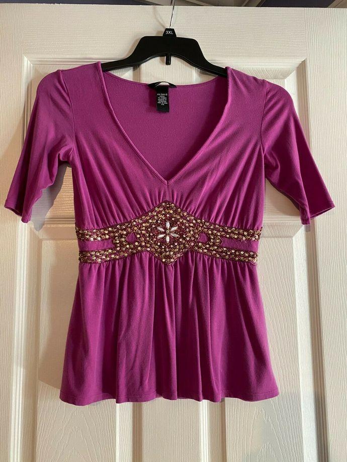 Vintage Victoria's Secret Hot pink Tunic Moda Gems Gemstones Sz Extra small