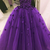 Dark Purple Flowers Ball Gown Long Sweet 16 Dress, Purple Prom Gown