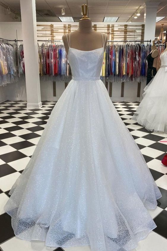 White tulle sequin long prom dress white tulle evening dress M8610