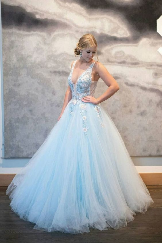 Blue v neck tulle lace long prom dress blue tulle formal dress M8611