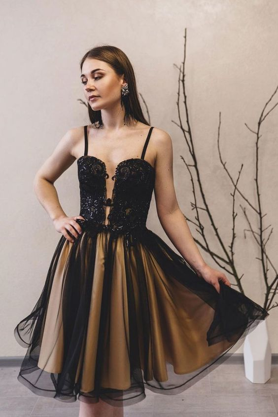Black lace tulle short homecoming dress M8613