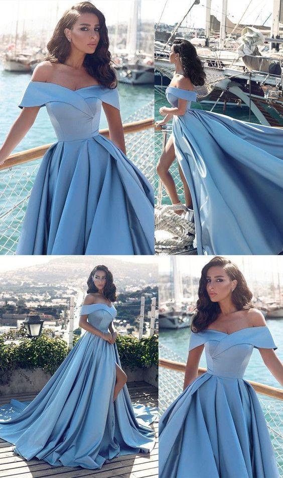 Elegant V-neck Off The Shoulder Long Satin Front Slit Evening Dress M8616
