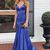 Cute Mermaid Blue Satin Simple Prom Dress Formal Dress M8619