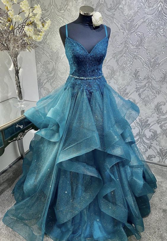 Blue tulle lace long prom dress M8630