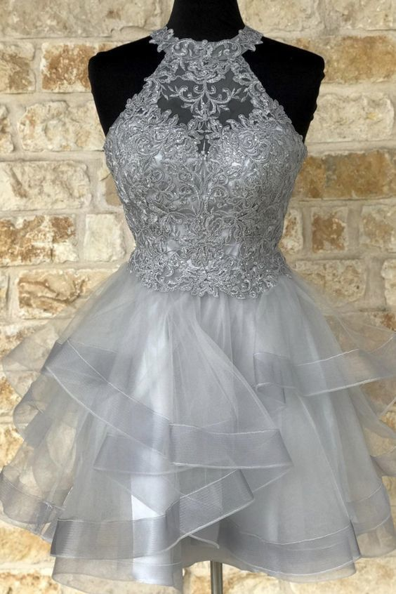 Cute tulle lace short homecoming dress M8631
