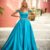 Blue Prom Dress,A-Line Prom Gown,Satin Evening Dress,Beading Prom Gown 034
