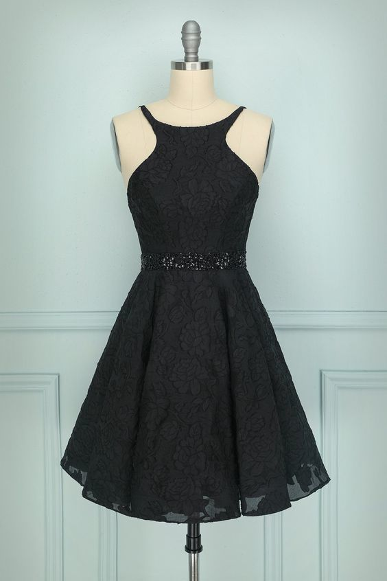 Black Halter Lace Short Homecoming Dress M8633
