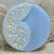 "11/16"" Molded and Enamel Painted Lace Pattern Light Blue Glass Button"