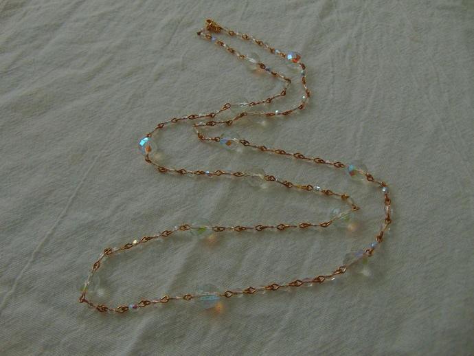 vintage clear aurora borealis large and small crystals necklace mint