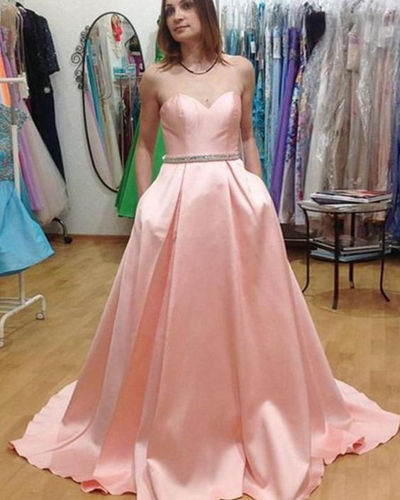 Sweetheart pink satin prom dress with pockets, long seatin formal dress for prom