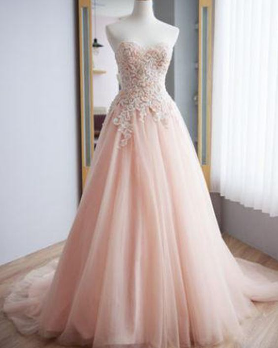 Sweetheart Pink Lace Applique Tulle A-line Prom Dress M8643