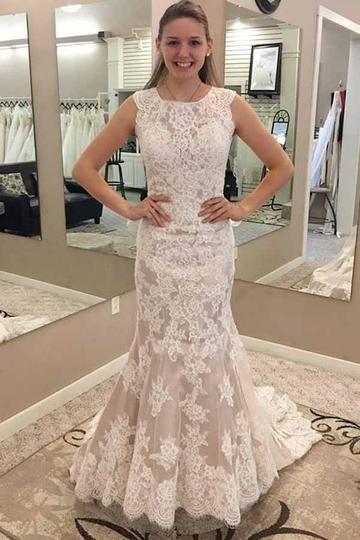 Modest Lace Jewel Neck Mermaid Prom Dress M8645