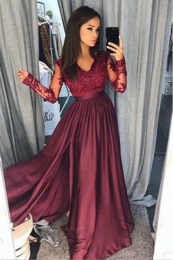 Custom Modest Burgundy Long Sleeve Prom Dress M8646