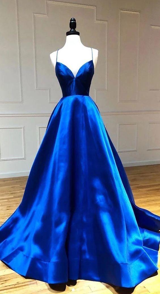 Royal Blue Satin V Neck A-Line Long Prom Dress  M8649