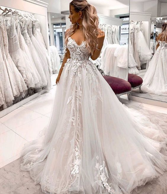 Sweetheart White Lace Tulle Prom Dress , Charming Prom Dress M8650