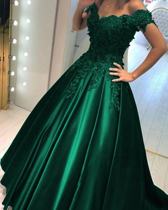Charming Green Satin Long Prom Dresses, Off Shoulder Graduation School Party