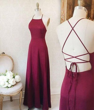 Simple Sexy Backless Burgundy Prom Dress M8651